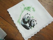 Vtg White Handkerchief with Two Pandas.
