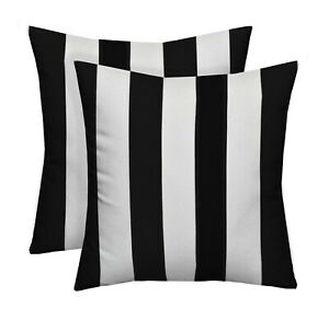 "Set of 2 Black & White Stripe Indoor / Outdoor 20"" x 20"" Square Throw Pillows"