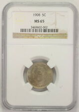 1908 5 Five Cent Nickel Liberty Head Coin Certified NGC MS65