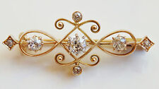 Antique Victorian Art Nouveau 18ct Gold Diamond (0.50cts) set Brooch c1895