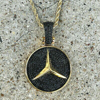 2.50Ct Round Black Diamond Men's Mercedes Charm Pendant 14k Yellow Gold Finish