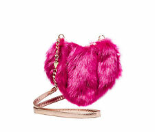 Betsey Johnson FUR YOUR EYES ONLY LUX Faux Fur HEART CROSSBODY Handbag BJ71105F