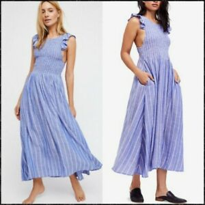 Free People Butterflies Chambray Midi Dress in blue colour Size L UK 10 + NWT