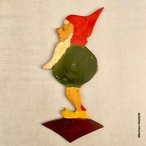 Antikes Märchen-Holzbild | 1930er Handgemalter Bauchgefühl-Zwerg 22 cm Gnom ALT