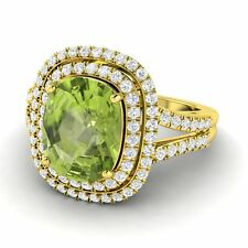 AUGUST BIRTHSTONE 4.74 CT CERTIFIED PERIDOT & GH-SI DIAMOND 10K YELLOW GOLD RING