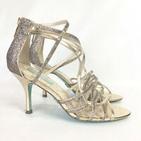 Betsey Johnson Womens 7.5 High Heels Gold Strappy Glitter Sparkle Crown Sandals