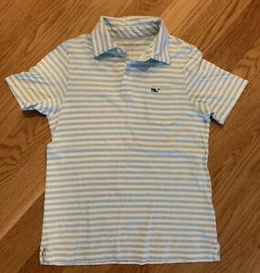 EUC Boys Vineyard Vines Polo White And Mint Green Stripes Size Small (8-10)