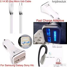 Samsung Galaxy S8 S8 Plus Note 8 Fast In Car & Type-C 3D Zinc Charger Lead Cable