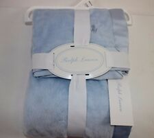 "NWT RALPH LAUREN 28"" Square Light Blue Embroidered PONY Crib/Stroller Blanket"