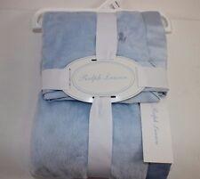 "NWT RALPH LAUREN 28"" Square Light Blue Embroidered PONY Crib/Stroller Blanket"