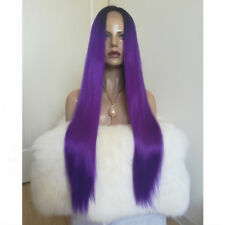24'' 1B/Deep Purple Color Lace Front Wig Synthetic Hair Long Silky Straight Wigs