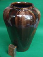 Antique Australian Bendigo  Pottery Huge  Vase Brown Drip Glaze Vintage 1930's