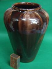 Antique Australian Bendigo  Pottery large Vase Brown Drip Glaze Vintage 1930's