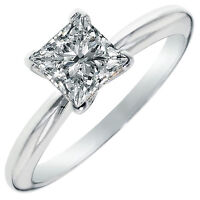 0.50 ct BRILLIANT Princess CUT SOLITAIRE ENGAGEMENT RING REAL 14K White GOLD