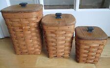 Longaberger 3 Basket Set / Canisters w/ Custom-Made Wooden Lids ~ Rare & Unique
