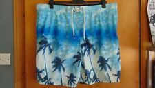 "M&S UPF50+ Quick Dry 'Palm Trees' Swim Board Shorts XXXL W45-47"" Blue Mix BNWT"