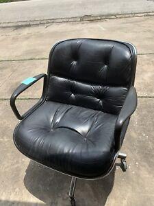 Vintage Knoll Pollock Chair Original Black Leather (Chair C)
