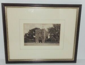 Early 1900 Photograph Print Bury St Edmunds Abbey Gate Mounted Framed Old Image