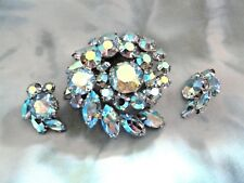 Sherman Vintage  Irridescent Brooch and Earrings Signed