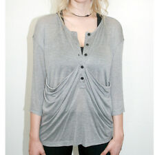 ANZEVINO and FLORENCE 3/4 gray anthropologie drape top XS