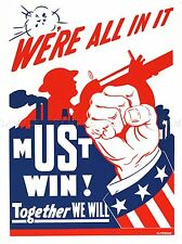 PROPAGANDA MUST WIN TOGETHER WAR US ARMY ART POSTER PRINT PICTURE LV6950