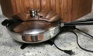 """Vintage Farberware B3000 Electric Fry Pan Stainless Steel 12"""" Skillet With Lid"""