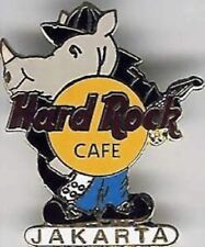 Hard Rock Cafe JAKARTA 1990s RHINO PIN Black Jacket & Guitar - HRC Catalog #3740
