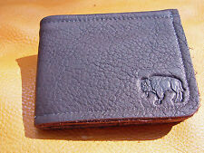Brown BUFFALO LEATHER Bi Fold Wallet hand crafted disabled Navy veteran USN 5002