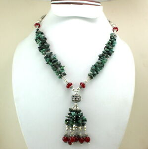 Necklace Natural Emerald Ruby Gemstone Handmade Beaded Jewelry Chips Necklace