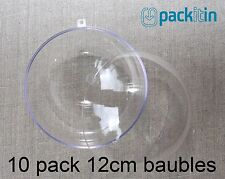 12cm (x10 qty) Clear Acrylic Two Piece ROUND Baubles Balls christmas ornaments
