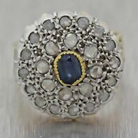 1930's Antique Sapphire & Rose Cut Diamond 14k Yellow Gold Cocktail Ring