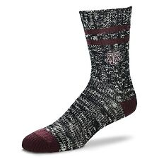 Texas A&M NCAA Football Alpine Crew Socks Black and Maroon Heel and Toe Logo Leg