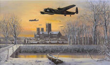 Lancaster Phantom of the Ruhr over Lincoln print We Salute You signed 4 RAF crew