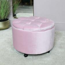 Round pink velvet upholstered button top storage stool pouffe bedroom boudoir