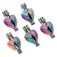 5X Rainbow Color Angel Wings Pearl Cage Locket Pendant Essential Oil Diffuser