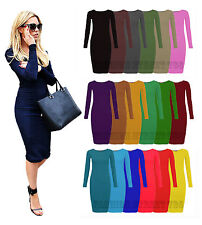 e0f716d353a3 WOMENS LADIES LONG SLEEVE MIDI DRESS STRETCH BODYCON PLAIN JERSEY MAXI PLUS  size