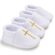 Baby Boy Girl Christening White Crib Shoes Soft Sole First Shoes Newborn to 18 M