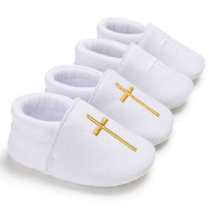 Newborn Baby Boys Girls Christening White Pram Shoes First Step Shoes Size 1 2 3