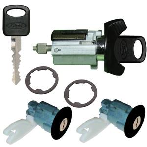 Ford Ignition Key Switch Lock Cylinder & Two Door Lock Tumbler Set Black 2 Keys