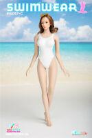 """1/6 Women Girl White Latex Swimuear Swimsuit Dress Skirt Clothing F 12"""" Figure"""