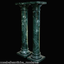Coppia di Colonne in Marmo Verde Alpi Green Marble Columns Made in Italy H.100cm