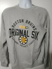 NHL CCM Mens Medium Boston Bruins Stone Fleece Crew Logo Sweatshirt Original Six