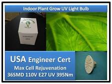 Doc Brown Herb Plant Grow 36 SMD LED UV 395Nm Light Bulb 110V 240V E27 USA Cert