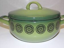 CATHRINEHOLM Norway Green Enamel Pot two handles with Lid black Design unmarked