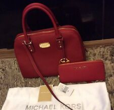 Brand New Genuine Michael Kors Saffiano Red Large Satchel With Jet Set Purse