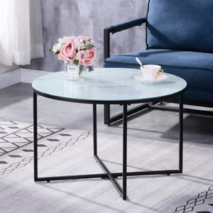 GOLDFAN Marble Coffee Table Round Glass Living Room Centre Table with Black End