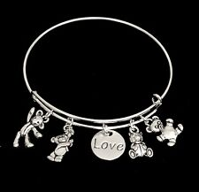 Bears with Love So cute! Teddy Bears Silver charms Expandable Bangle Bracelet