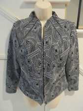 VERS AUSTRALIA SIZE 8 BLACK WHITE SILK LYCRA ZIPPERED BLOUSE JACKET 'PERFECT'
