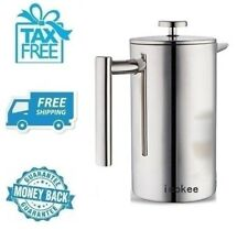 New French Press Double Wall Stainless Steel Coffee Maker 1000ml Measuring Spoon