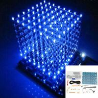 DIY Square 3D Light Electronic Cube Kit Blue/Red LED 8x8x8mm Spectrum Board